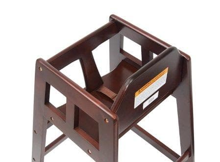 Winco Mahogany Finish Wooden High Chair - Knocked Down - Omni Food Equipment