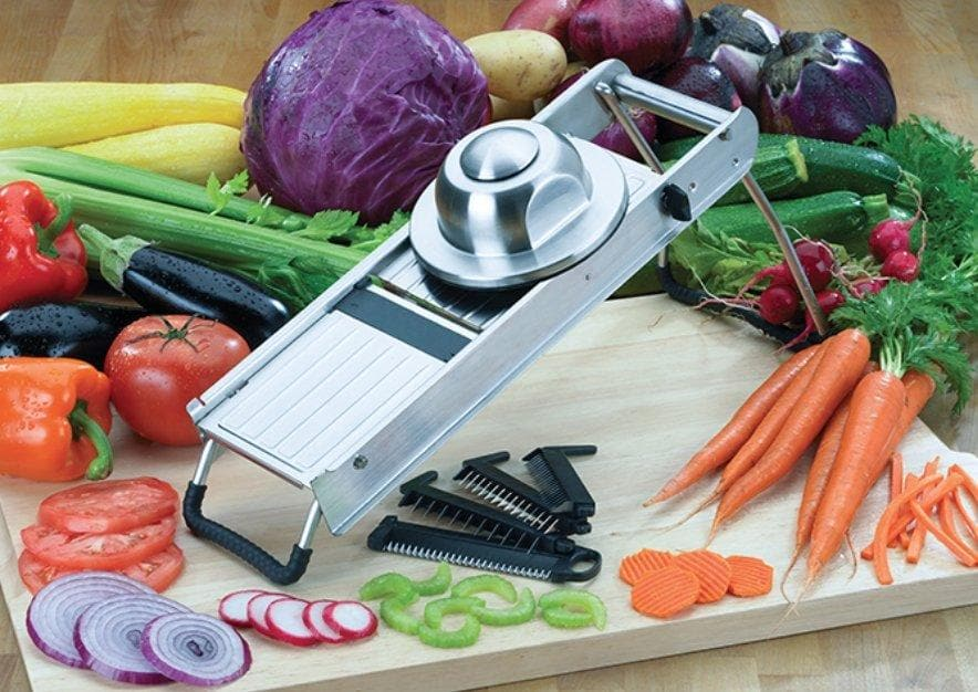 Winco MDL-18 Mandoline Slicer Set With Built-In Blades - Omni Food Equipment