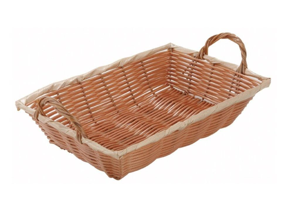 Winco Natural Woven Rectangle Basket With Handles - Various Sizes - Omni Food Equipment