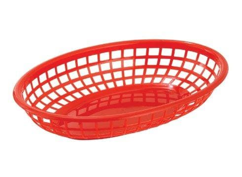 Winco Small Oval Fast Food Basket (Pack of 12) - Various Colours - Omni Food Equipment