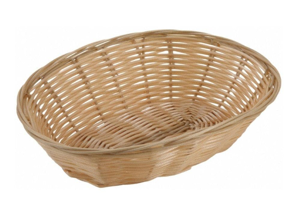 Winco Tan Poly Woven Baskets (Pack of 12) - Various Sizes - Omni Food Equipment