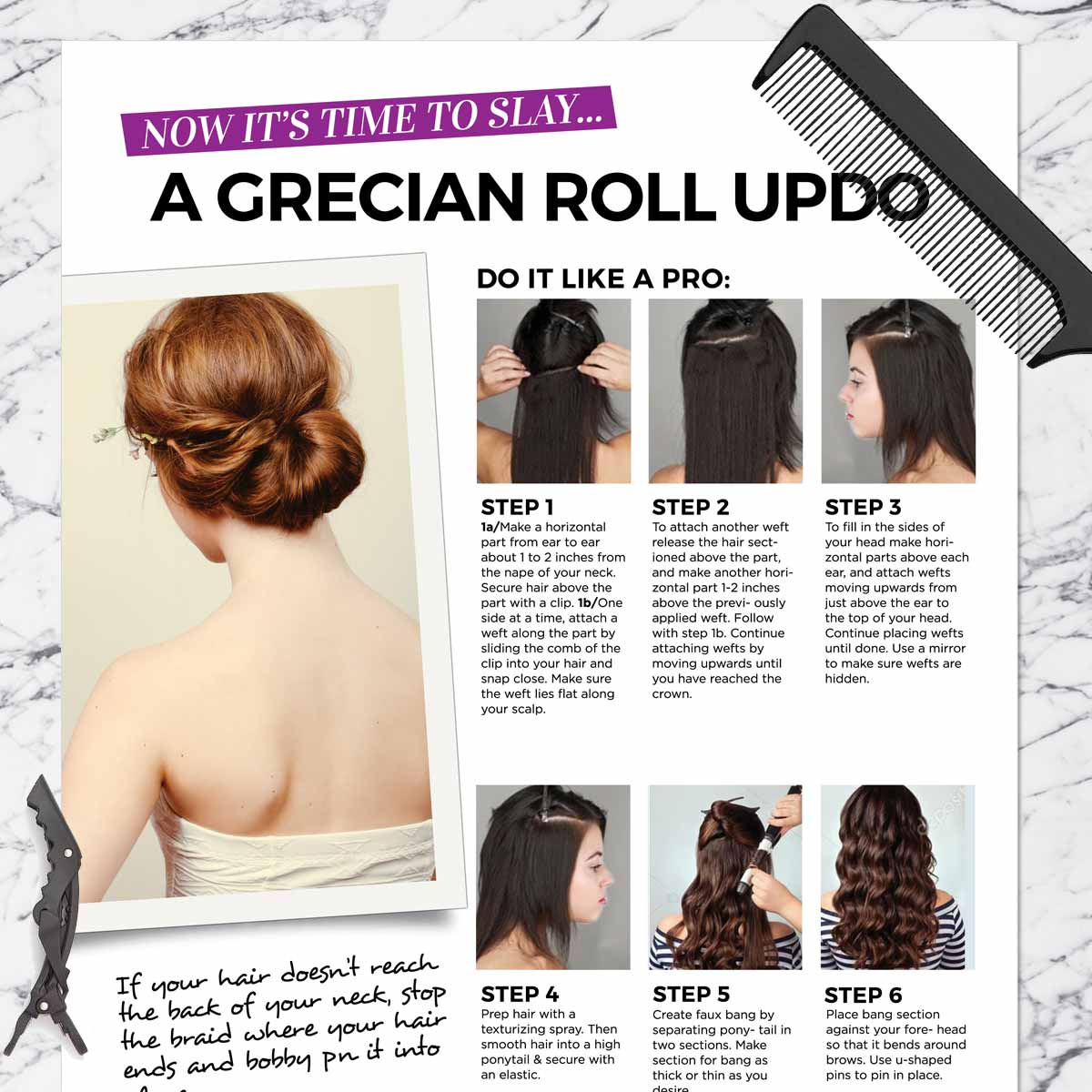 Grecian Roll Updo Get The Look Kit All In One Kits Weftbar Hair