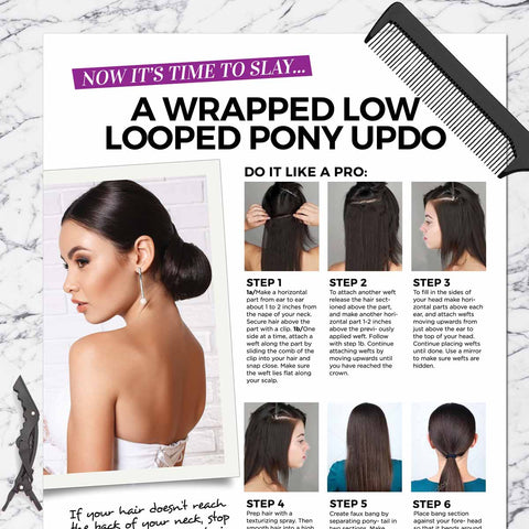 Wrapped Low Looped Pony Updo