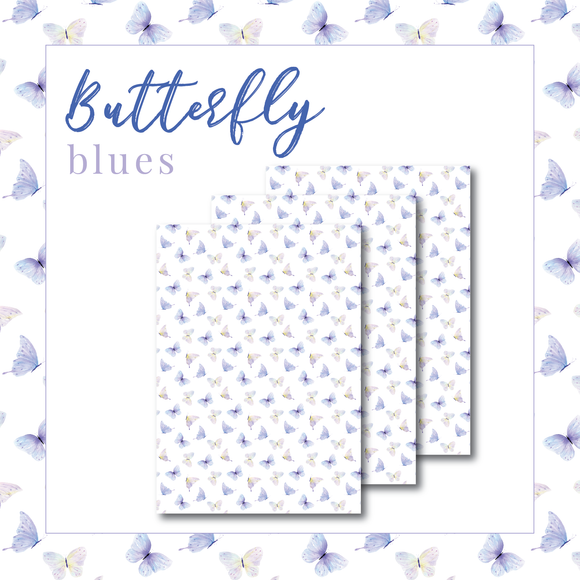 Butterfly Blues Packaging Paper - Translucent