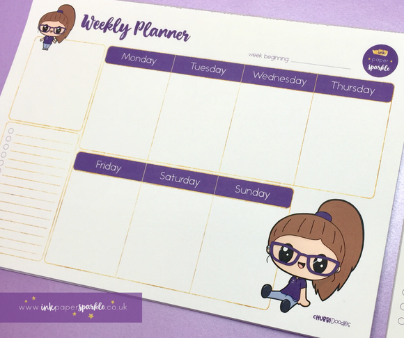 Character Mascot Weekly Desk Planner