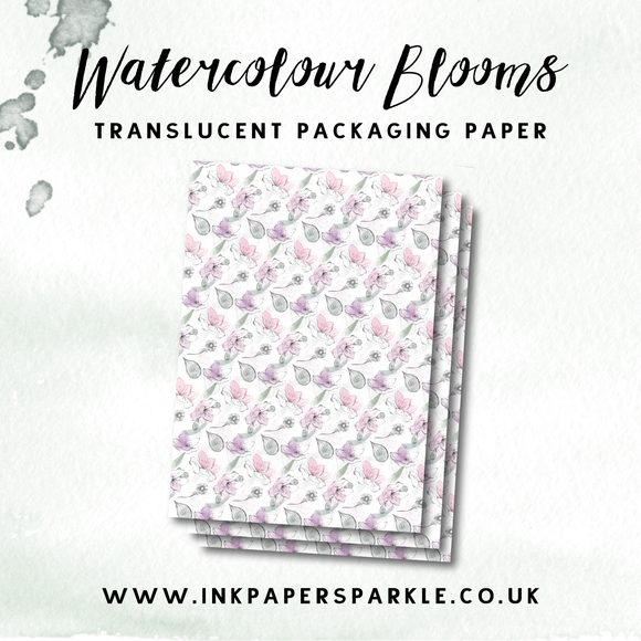 Watercolour Blooms Packaging Paper - Translucent