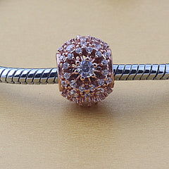 Rose Gold Round Sparkling Charm