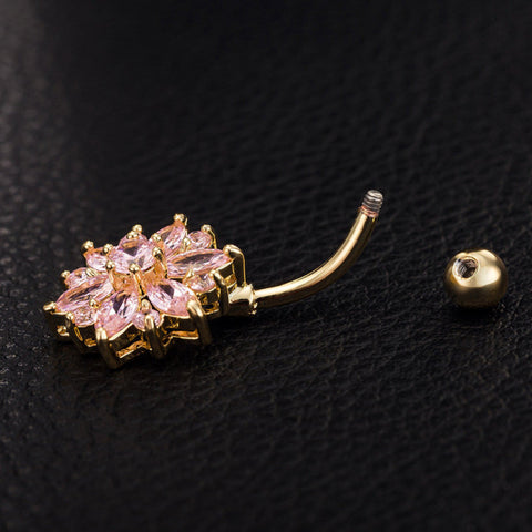 Sparkling Floral Belly Ring