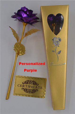 Personalized Golden Valentine's Rose