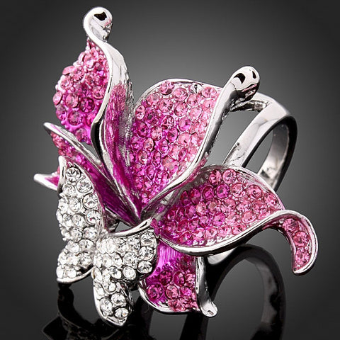 Sparkling Rhinestone Butterfly Ring