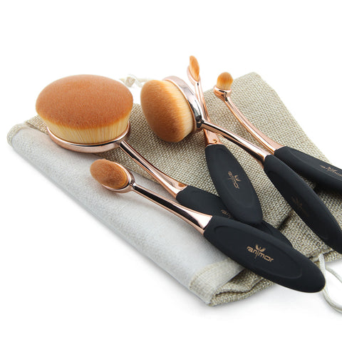 Rose Gold Oval Kabuki Brush Set