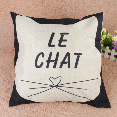 Cat Lovers Cotton Cushion Cover