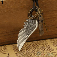 Men's Antique Vintage Angel Wing Leather Necklace