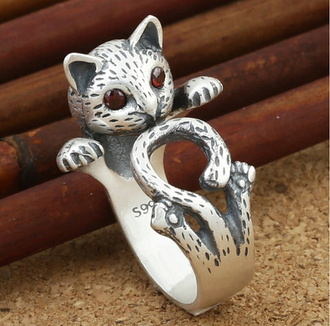 Cleopatra™ Sterling Silver Cat Ring
