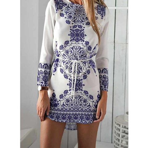 Blue & White Long Sleeve Cotton Tunic