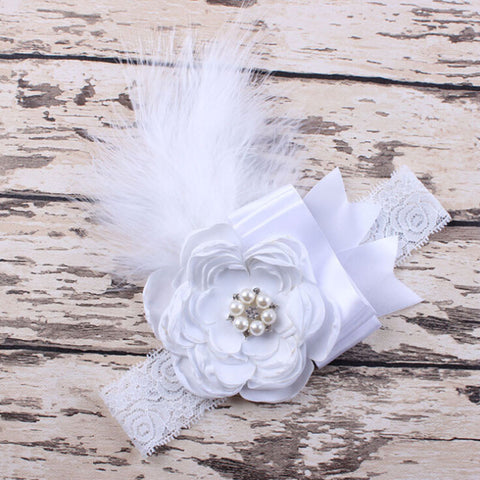 Baby's Feather & Rhinestone Headband