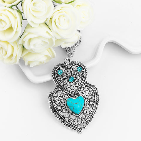 **FREE** Turquoise Double Heart Pendant