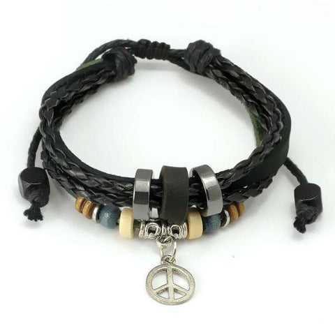 Black Leather Boho Bracelet