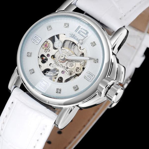 Mechanical Skeleton Watch with Leather Band