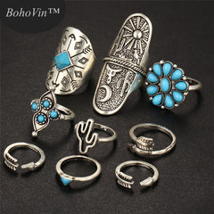 BohoVin™ Blue Stone Ring Set