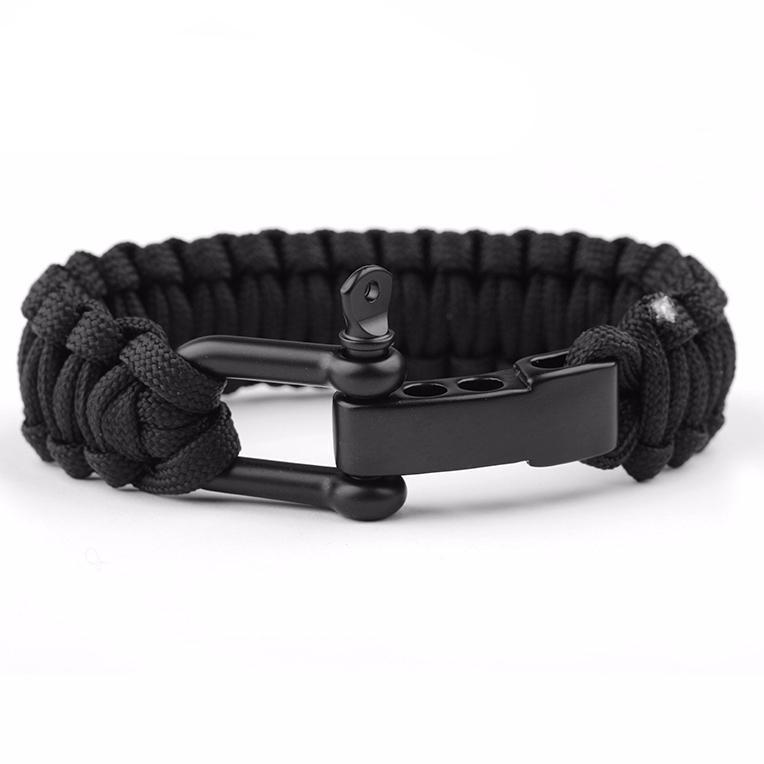 Jet Black Braided Parachord Bracelet
