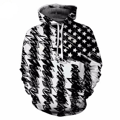 Black and White Unisex USA Hoodie