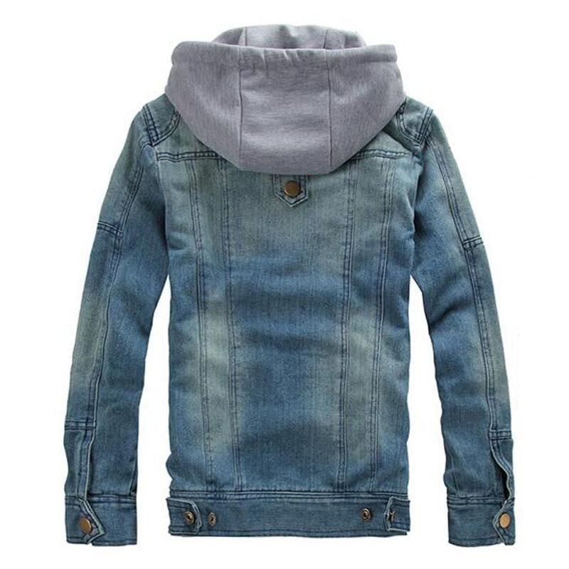 Denim Detachable Hood Blue Jacket