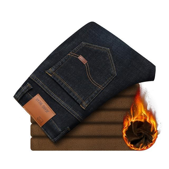 Fleece Elastic Denim Pants