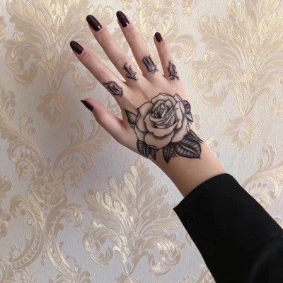 OnDecal Black Ink Rose Temporary Tattoo