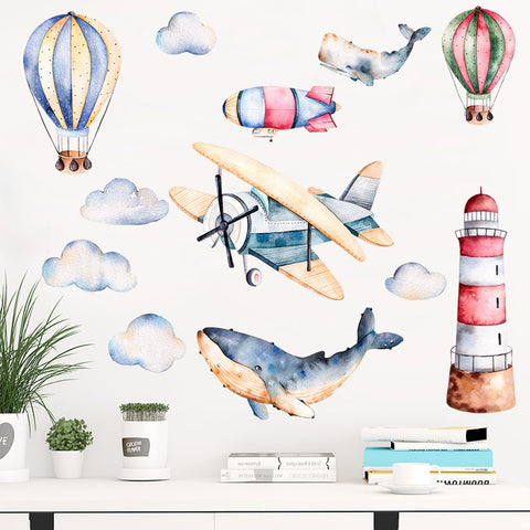 OnDecal Watercolor Airplane Lighthouse Wall Decals