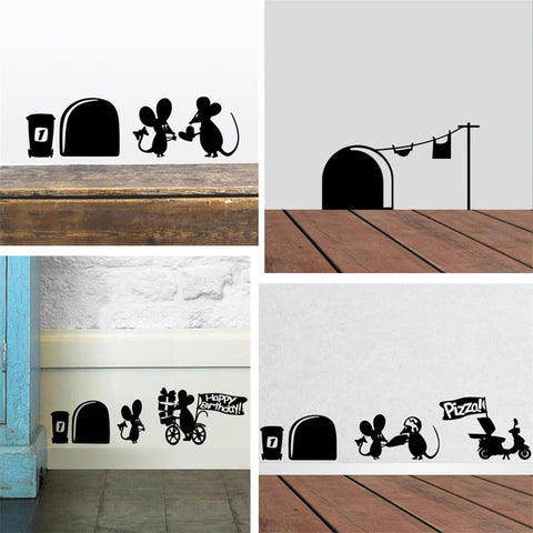 OnDecal Funny Mouse Hole Wall Decal