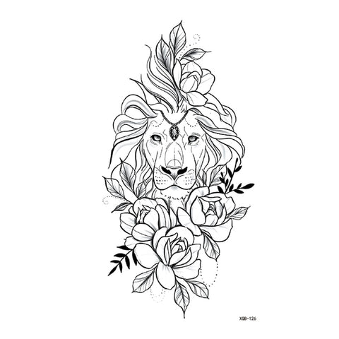OnDecal Lion And Flower Temporary Tattoo