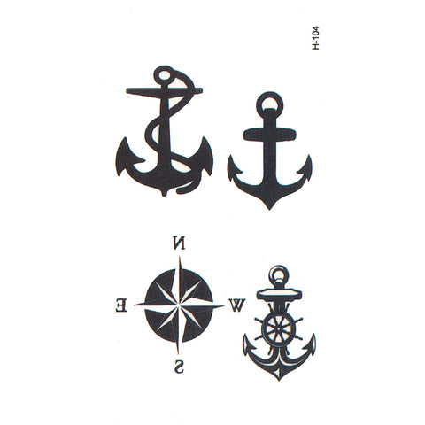 OnDecal Anchors And Compass Temporary Tattoo