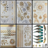 OnDecal 6 Pack of Henna Metallic Temporary Tattoos