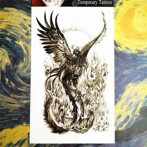 OnDecal Black phoenix Temporary Tattoo