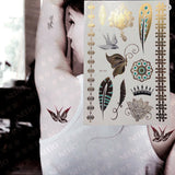 OnDecal Gold, Black & Silver Henna Temporary Tattoos