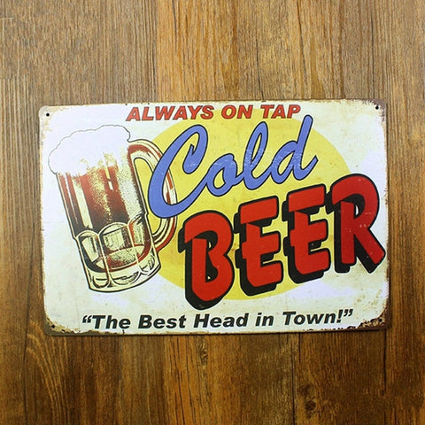 OnDecal Always ON TAP COLD Metal Sign