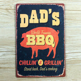 OnDecal DADs BBQ Retro Metal Sign