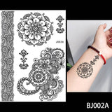 OnDecal 1PC Fashion Flash Women Black Ink Henna Temporary Tattoo