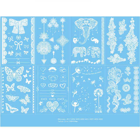 OnDecal 8 Sheets Lace Design Henna Ink Temporary Tattoo
