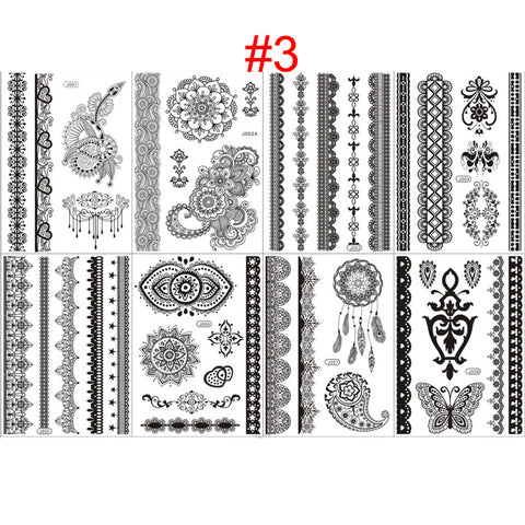 OnDecal 8pcs Black Temporary Flash Henna Lace Tattoos