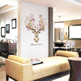 OnDecal Deer Head With Flowers Wall Decal