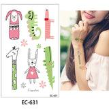 OnDecal Cute Cartoon Animal Temporary Tattoo