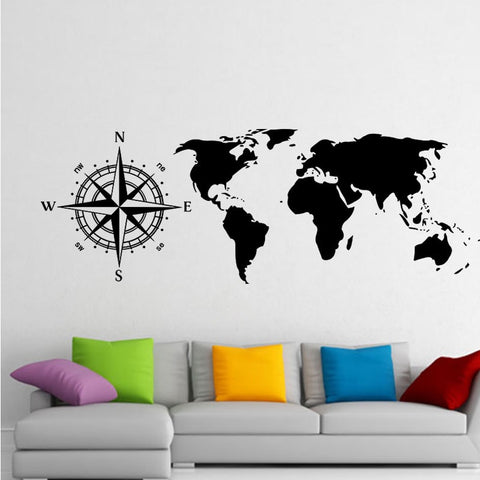 OnDecal Nautical Compass World Map