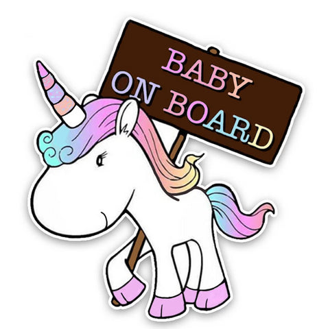 OnDecal Lovely Small Unicorn BABY ON BOARD Car Decal