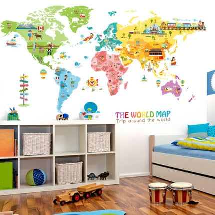 OnDecal Large Cartoon World Map