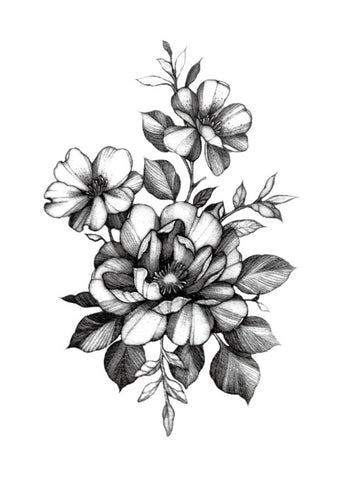 OnDecal Sketch Art Flower Tattoo