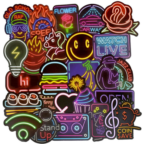 OnDecal 50 PCS Neon Light Design Stickers