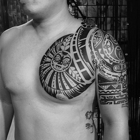 OnDecal Shoulder And Chest Sun totem Temporary Tattoo