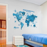 OnDecal 3D Blue World Map Wall Decal